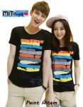 kaos couple paint hitam - harga 85rb