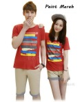 kaos couple paint merah
