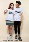 kaos couple papamama putih - harga 85rb